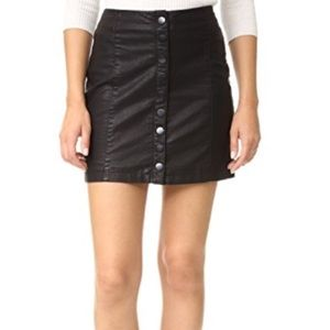Free People Black Button Up Leather Skirt size 8